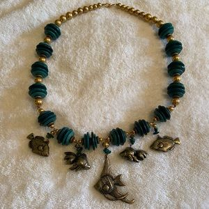 Gold and Turquoise colored Beaded Necklace w/ Fish